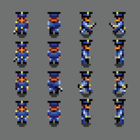 Police officer pixel art walk animation frames vector illustration Ilustracja