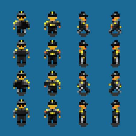 Bodyguard pixel art walk animation frames vector illustration
