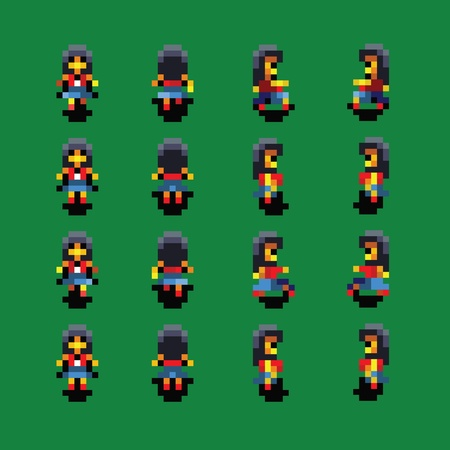 Girl pixel art walk animation vector illustration Ilustracja