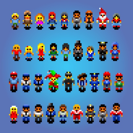 Set of small pixel art people vector avatars