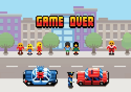 Game Over - car stopped by the police pixel art video game style retro layer illustration Ilustracja