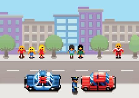 Um carro parado pela polícia pixel art vídeo game estilo retro camada ilustração