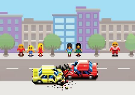 Car crash accident on street, pixel art game style retro layers illustration Ilustracja