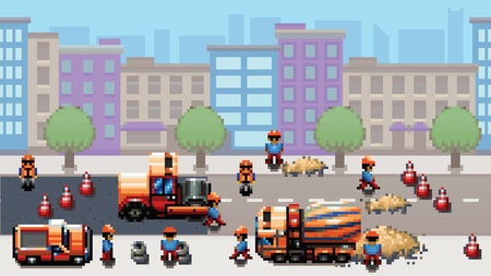 Road works - pixel art urban scene game style vector layer illustration Vectores