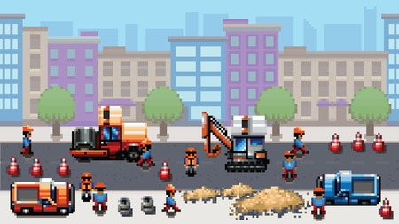 Road works - pixel art scene video game style vector layer illustration Vectores