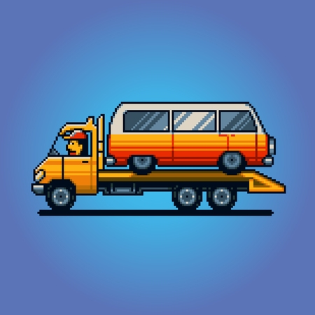 Tow truck pixel art game vector illustration