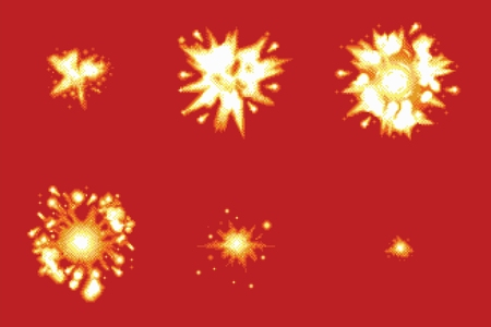 Pixel Art Space Game Explosion Animation Vector Frames Isolated Ilustracja