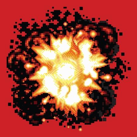 Pixel art retro game explosion vector illustration