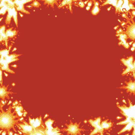 Pixel art retro game explosion square frame vector illustration Ilustracja