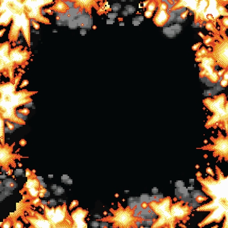 Pixel art retro game explosion smoke square frame vector illustration Illustration