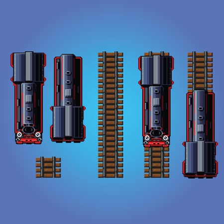 steam train locomotive pixe art style game asset vector illustration