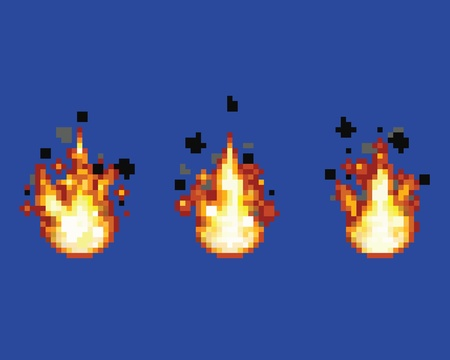 Raging flame - animation frames video game asset pixel art style vector layer illustration 向量圖像