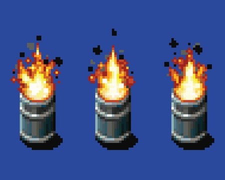 Fire in the barrel - animation frames video game asset pixel art style vector layer illustration Ilustracja