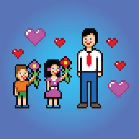 Fathers day celebration - pixel art style vector illustration Ilustracja