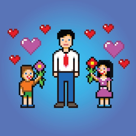 little kids gives daddy flowers - pixel art style vector illustration Ilustracja