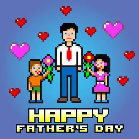 Fathers day flowers celebration card - pixel layers vector illustration