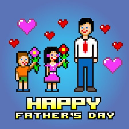 Fathers day card - pixel art style layers vector illustration Ilustracja