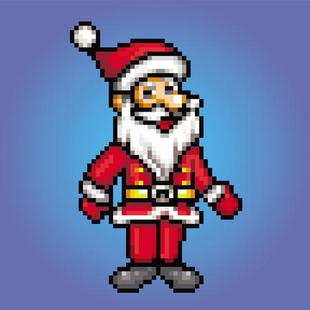 santa claus retro 8 bit - pixel art style vector illustration