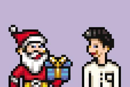 santa claus retro 8 bit - pixel art style illustration