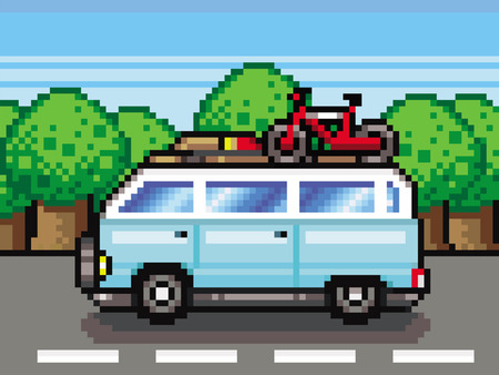 family road trip summer holidays pixel-art style vector Ilustracja