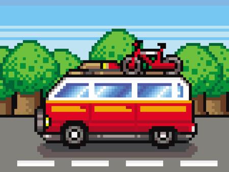 red family car summer holidays Vector illustration. Ilustracja