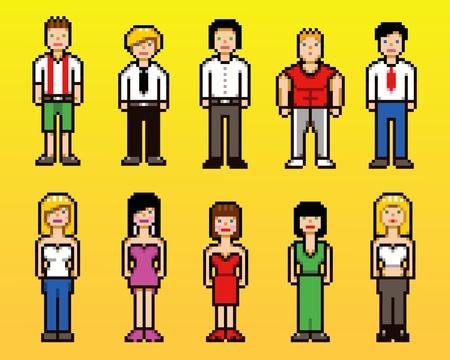 Set of pixel art style people avatar icons, vector illustration