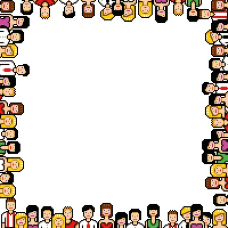 pixel art people frame vector illustration isolated on white