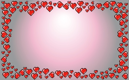 Valentines Day background frame, red hearts Vector illustration