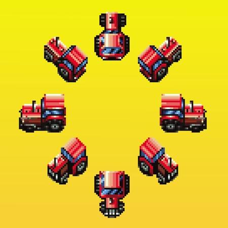 tractor eight directions retro pixel design vector illustration