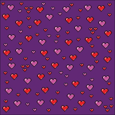 Pixel art hearts background, video game style vector illustration Ilustracja