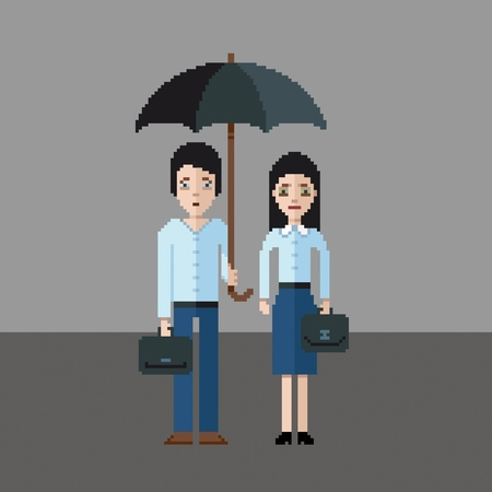 Sad man and girl under an umbrella, pixel art style vector illustration