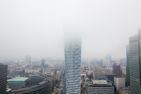 Modern grey skyscrapers in the fog