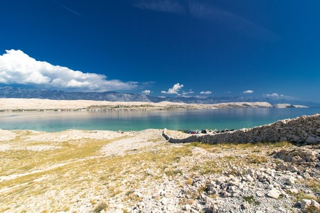 Beautiful sunny landscape of Island of Pag, Croatia, Europe