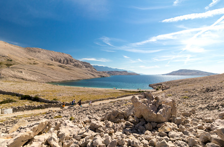 Beautiful Rucica beach on island of Pag in Croatia, Europe