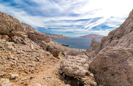 Hill above Beritnica beach on Pag island in Croatia, Europe