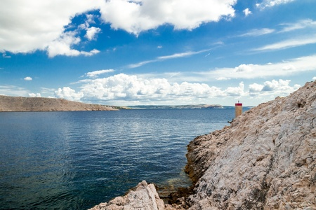 Pag island and summer clouds, Croatia, Europe