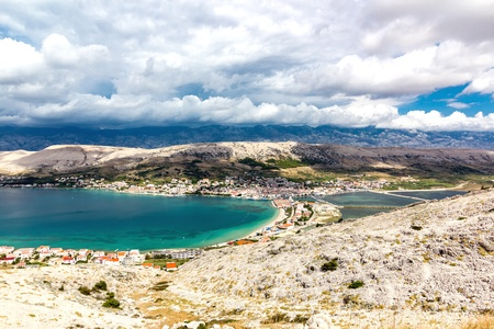 Landscape of Town of Pag, Pag island, Croatia