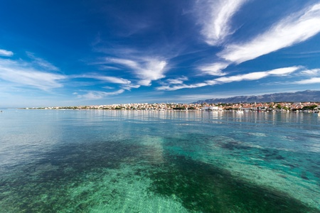 Amazing turquoise view of town of Novalja, Pag island, Croatia, Europe