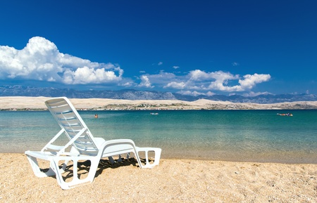 White sun bed on beautiful beach of Croatia, Adriatic Sea Zdjęcie Seryjne