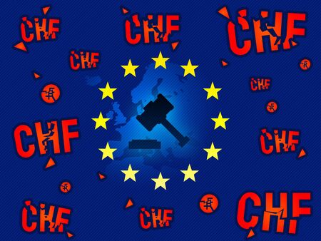 European Union court, verdict on CHF swiss currency loans news background illustration
