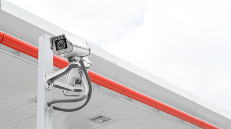 Surveillance Security Camera or CCTV in for protection system in the pole Standard-Bild