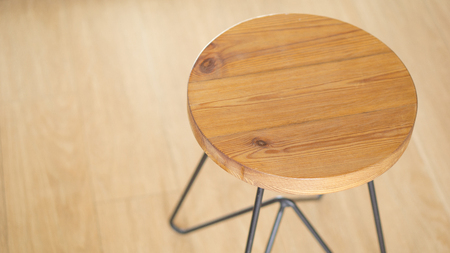 wood chair: Vintage round chair on wood floor