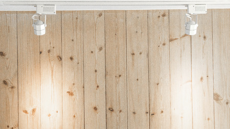 Wood wall with spotlight hanging background