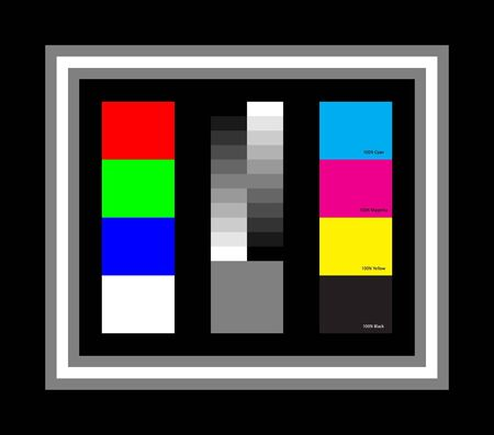 Very Simple Colour Chart, RGB & White, CMYK, Black-to-White from 100% to 0%, and a 50% Grey, Black Surround with 50% Grey-White-50% Grey-Black border.
