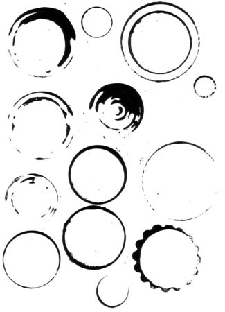 Coffee cup stains, a range of cups and other round things were used to print these stain marks with pigmented black ink, scanned at high res. Stock Photo