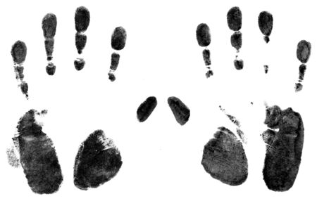 Hand prints made with screen printing ink