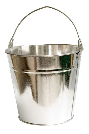 Galvanized steel bucket shot on a white background, includes Clipping Path Stock Photo