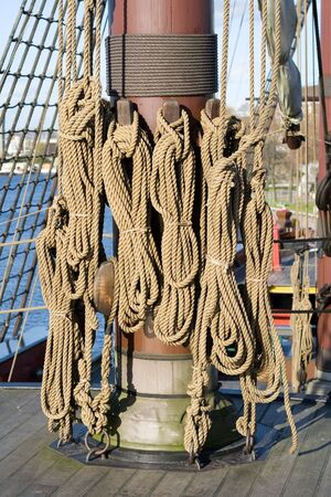 The rigging and rope details of a tall sailing ship at the scheepvaartmuseum (Maritime Museum) in Amsterdam.