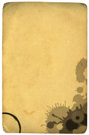 The backs of old photographs, mildew and dirt textures, scanned at 1200dpi embelished with vector ink drips and coffee stain.