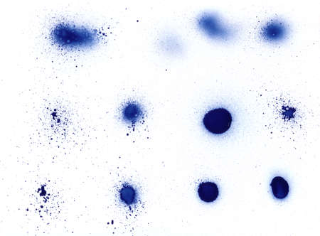 Spray can (aerosol) splatter design elements, for backgrounds and grunge  graffiti. Stock Photo